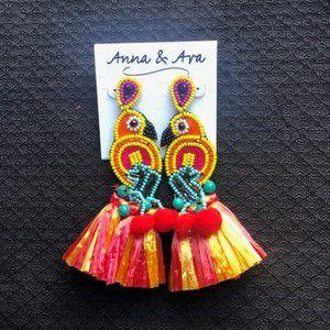 Anna & Ava Beaded Bird Statement Earrings.